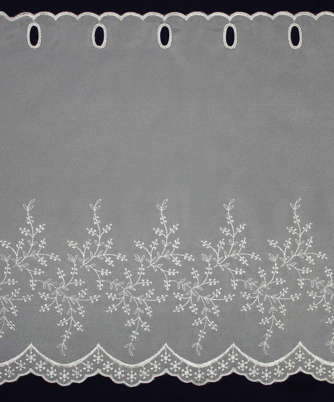 カフェカーテン ししゅう 丈45㎝ FD-59655 (小花柄) ナチュラル