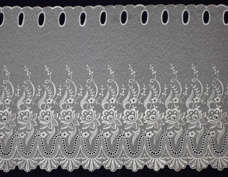 カフェカーテン ししゅう 45㎝丈 T-7417 ホワイト